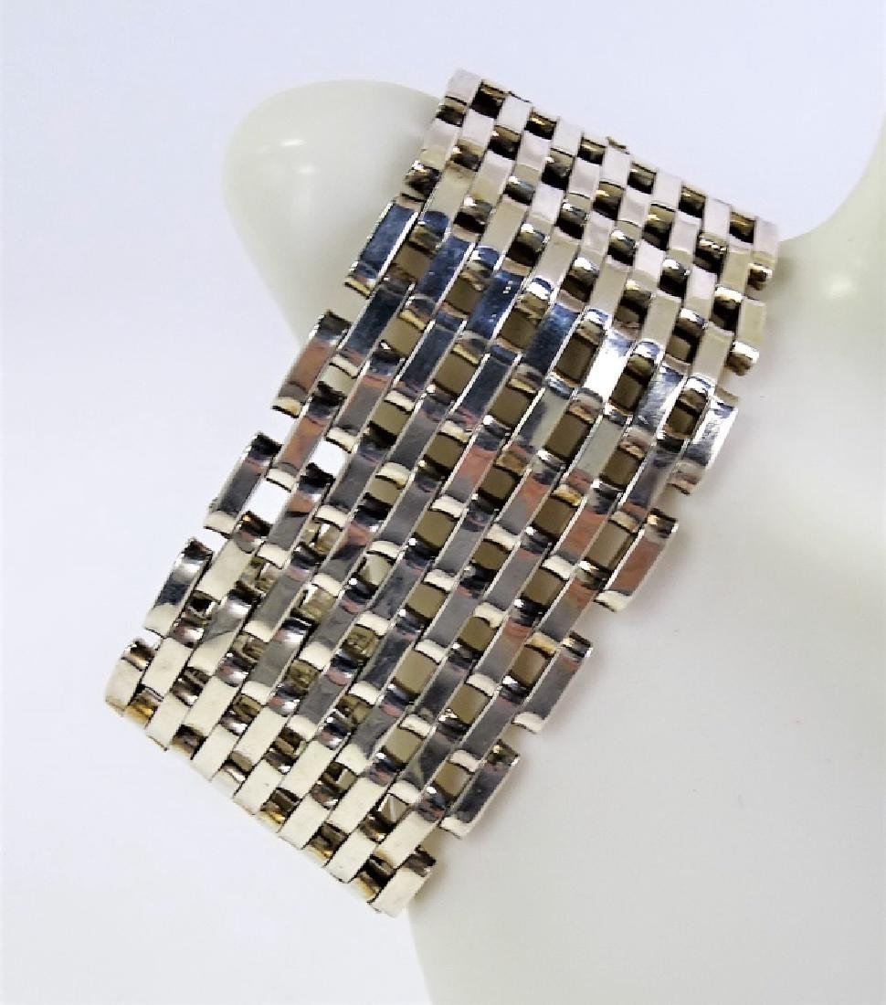 TAXCO MEXICAN STERLING SILVER MESH LINK BRACELET - 5