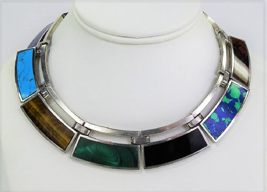 TAXCO MEXICAN STERLING & GEMSTONE COLLAR NECKLACE