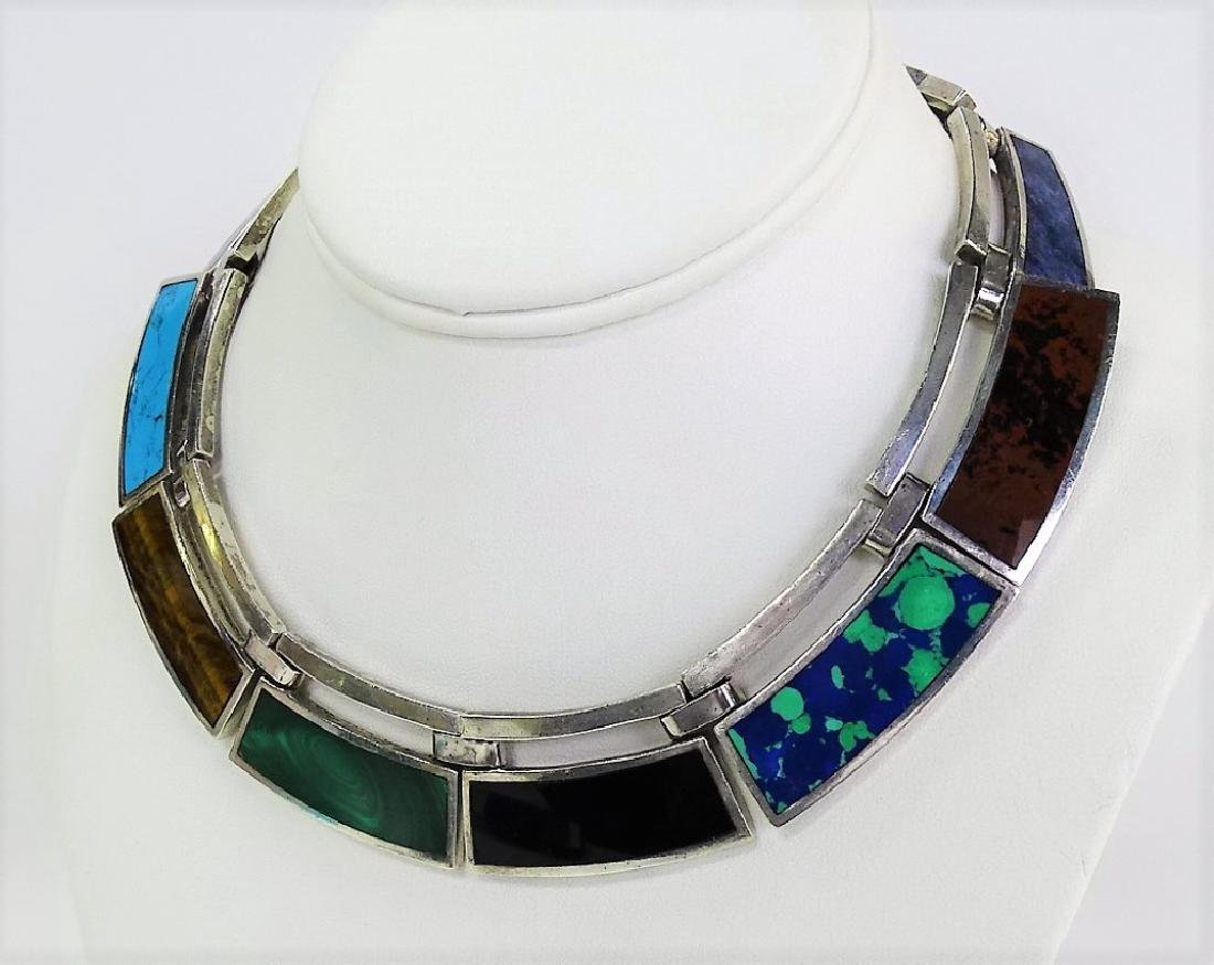 TAXCO MEXICAN STERLING & GEMSTONE COLLAR NECKLACE - 2