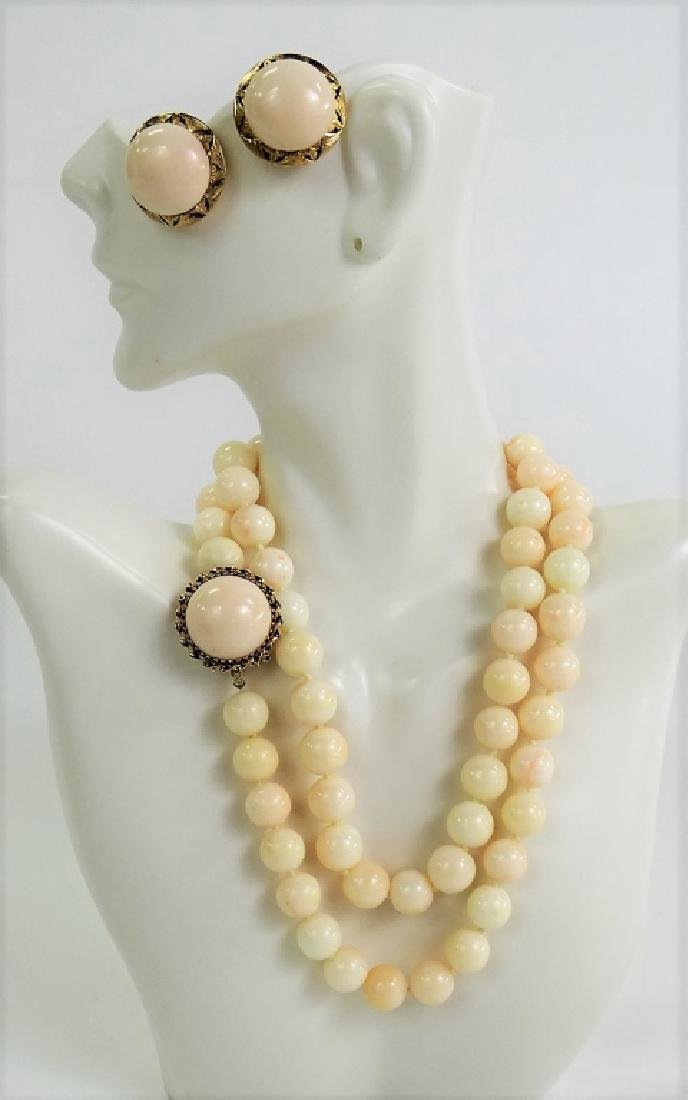 3PC 14KT & 18KT ANGEL SKIN CORAL JEWELRY SUITE