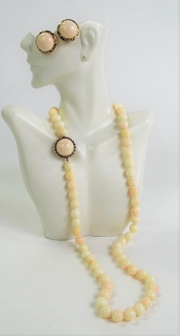 3PC 14KT & 18KT ANGEL SKIN CORAL JEWELRY SUITE - 2