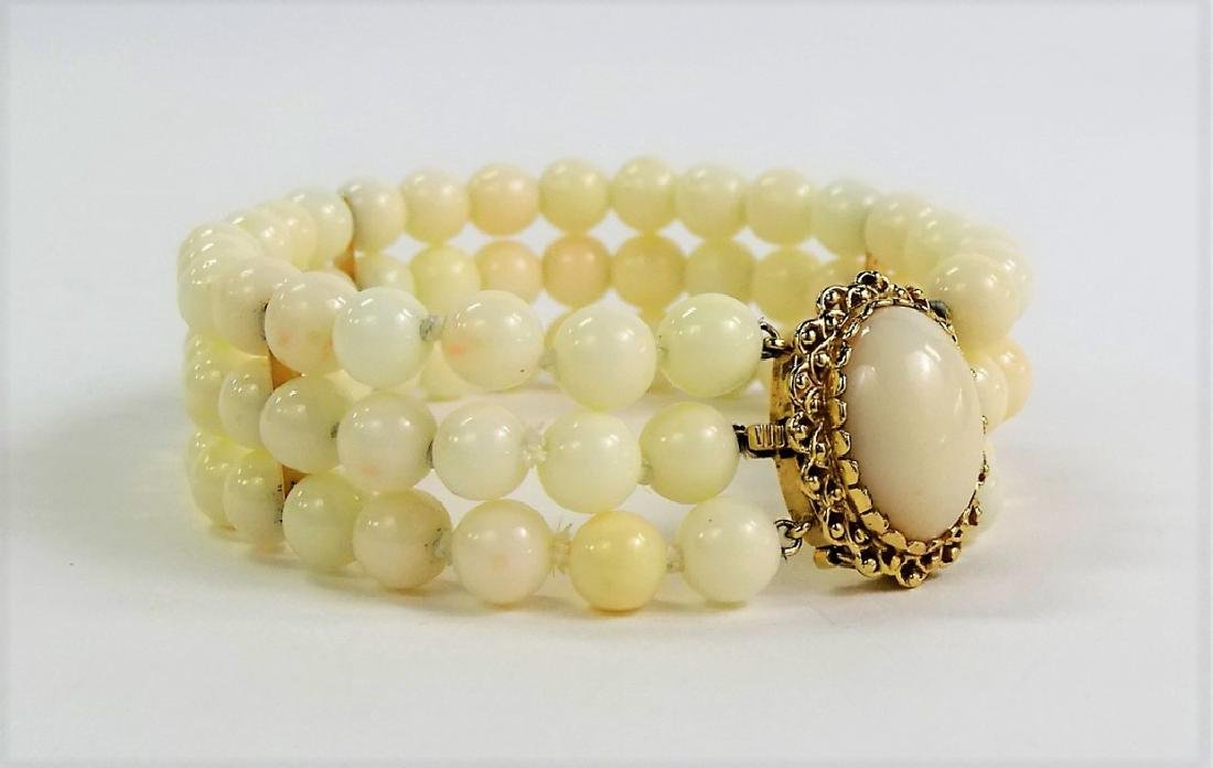 LADIES 14KT YELLOW GOLD WHITE CORAL BRACELET - 2