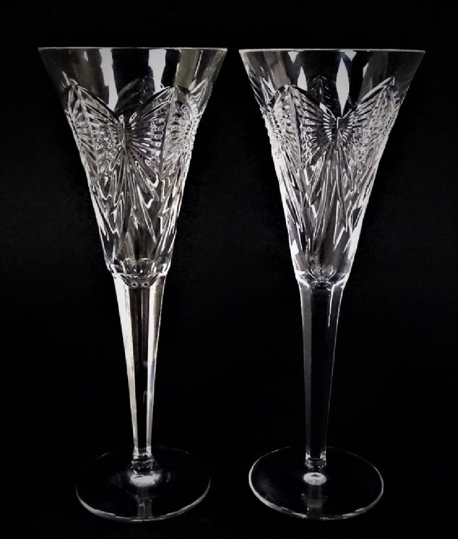 PR WATERFORD CUT CRYSTAL CHAMPAGNE FLUTES