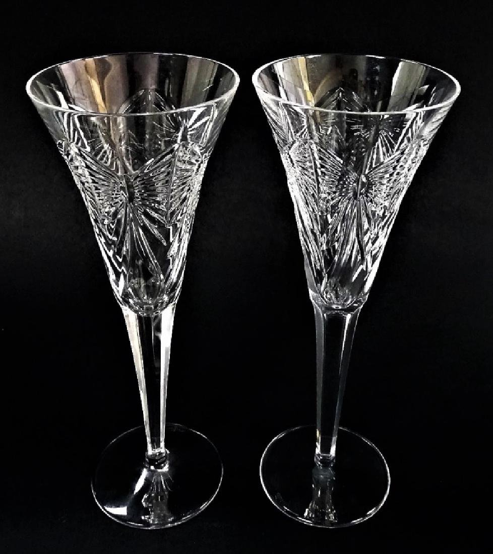 PR WATERFORD CUT CRYSTAL CHAMPAGNE FLUTES - 2