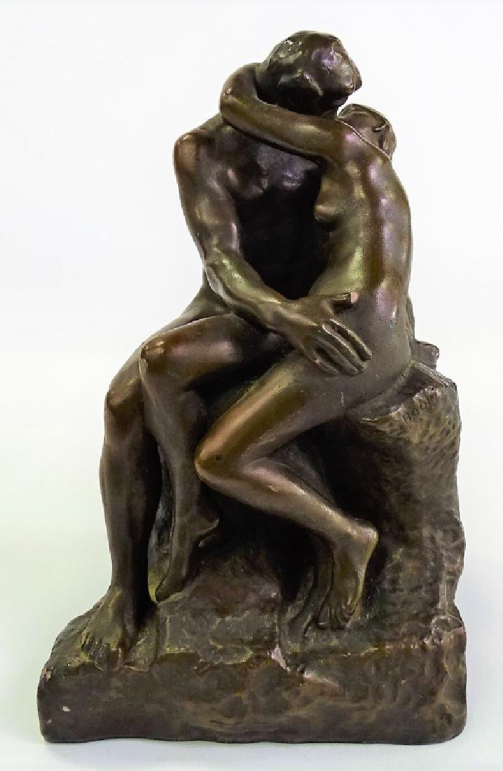 """AFTER A. RODIN """"THE KISS"""" BRONZE REPRODUCTION"""