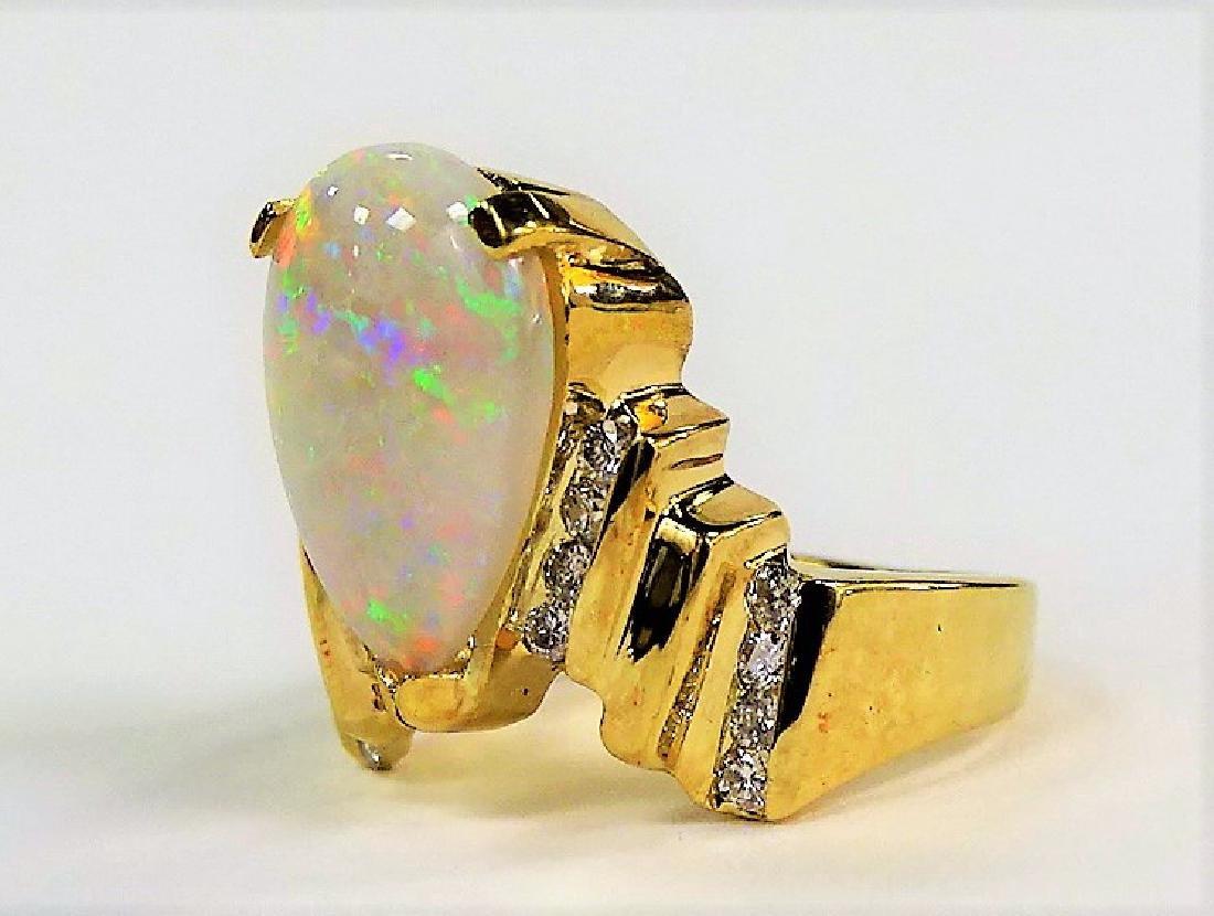 FABULOUS 14KT Y GOLD OPAL & DIAMOND RING - 3
