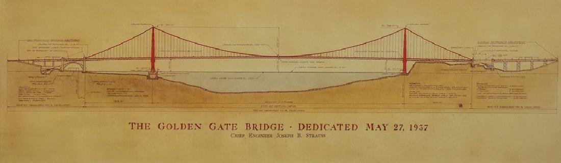 ANTIQUE GOLD GATE BRIDGE CIVIL ENGINEER PRINT - 3