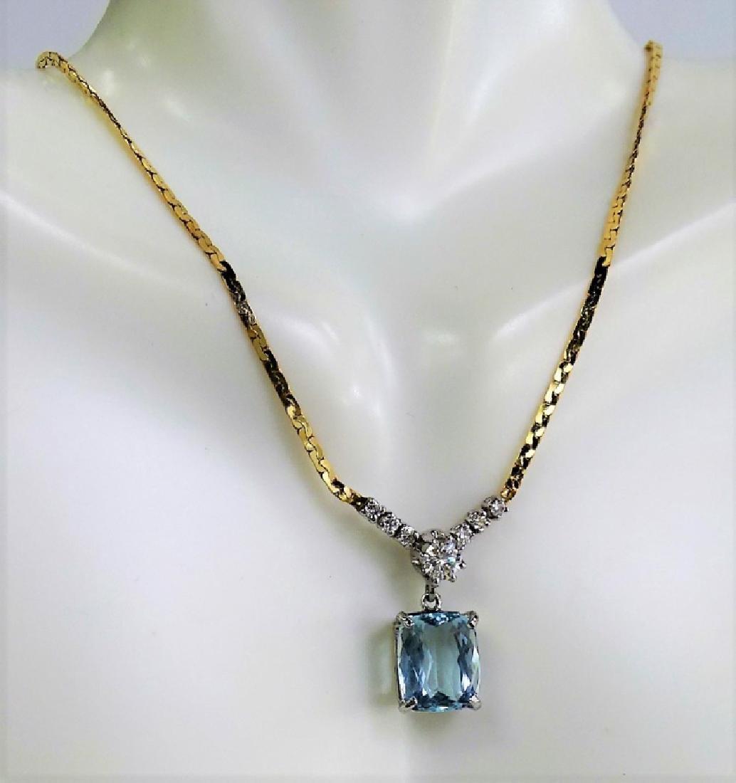 14KT Y GOLD 4.3CT AQUA MARINE AND DIAMOND NECKLACE