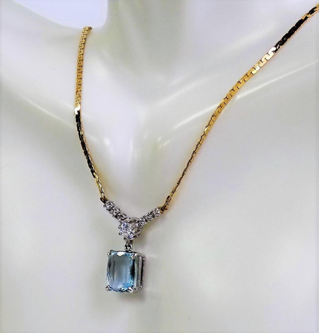 14KT Y GOLD 4.3CT AQUA MARINE AND DIAMOND NECKLACE - 2