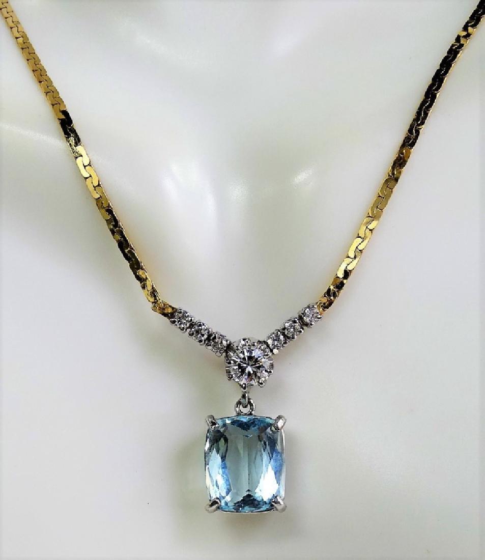 14KT Y GOLD 4.3CT AQUA MARINE AND DIAMOND NECKLACE - 3