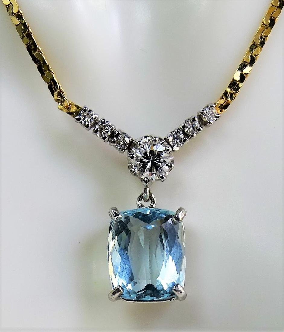14KT Y GOLD 4.3CT AQUA MARINE AND DIAMOND NECKLACE - 4