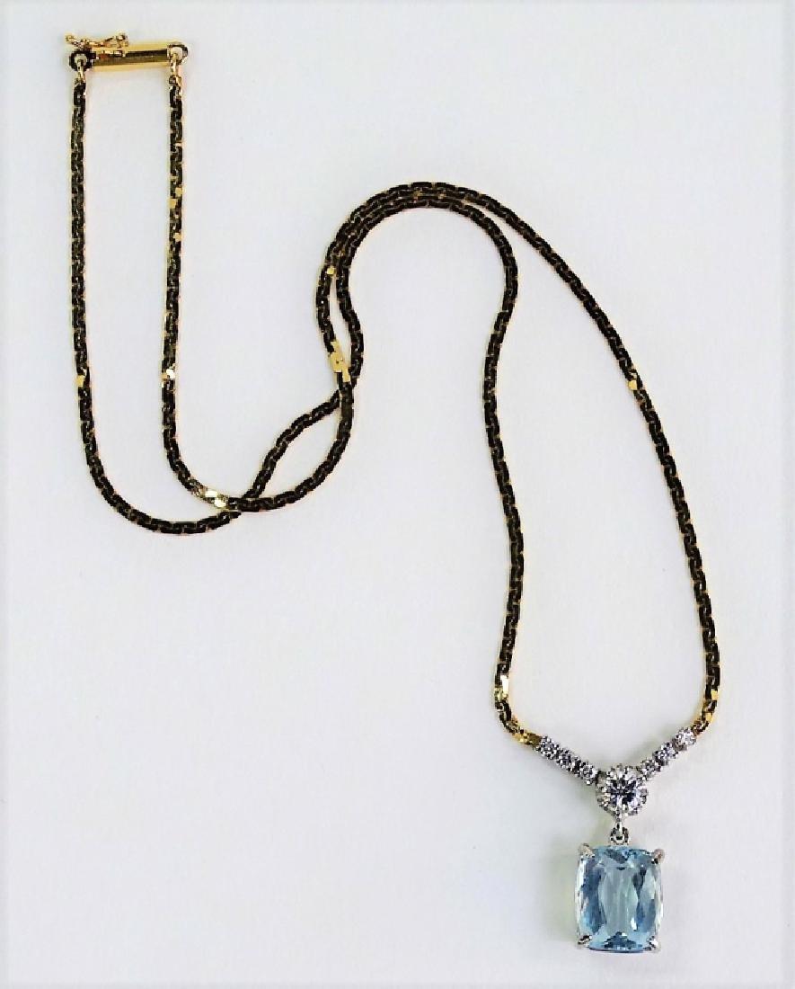 14KT Y GOLD 4.3CT AQUA MARINE AND DIAMOND NECKLACE - 5