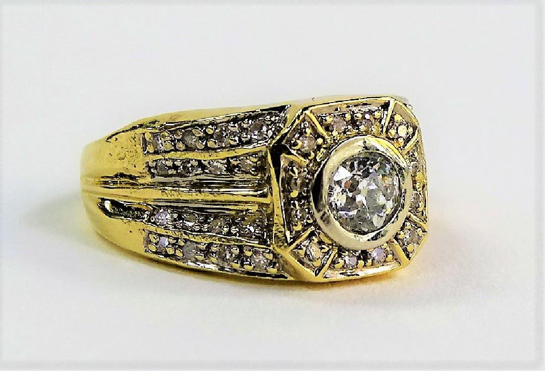 FABULOUS MEN'S 14KT YG DIAMOND PINKY RING - 2