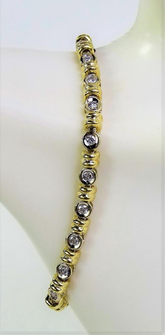 14KT 2 TONE GOLD AND 1.4CT DIAMOND TENNIS BRACELET