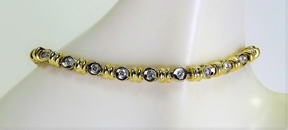 14KT 2 TONE GOLD AND 1.4CT DIAMOND TENNIS BRACELET - 3