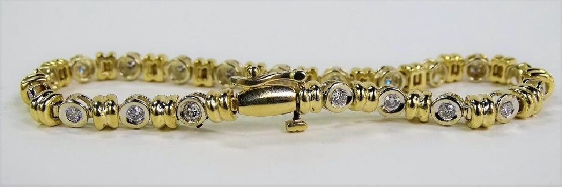 14KT 2 TONE GOLD AND 1.4CT DIAMOND TENNIS BRACELET - 4