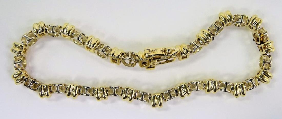 14KT 2 TONE GOLD AND 1.4CT DIAMOND TENNIS BRACELET - 5