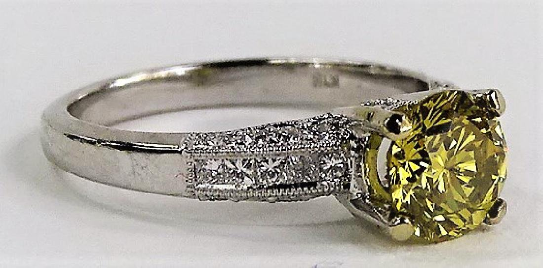 18KT W GOLD & 1 CT YELLOW DIAMOND ENGAGEMENT RING - 2