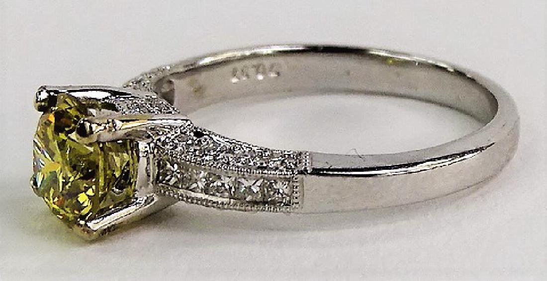 18KT W GOLD & 1 CT YELLOW DIAMOND ENGAGEMENT RING - 3