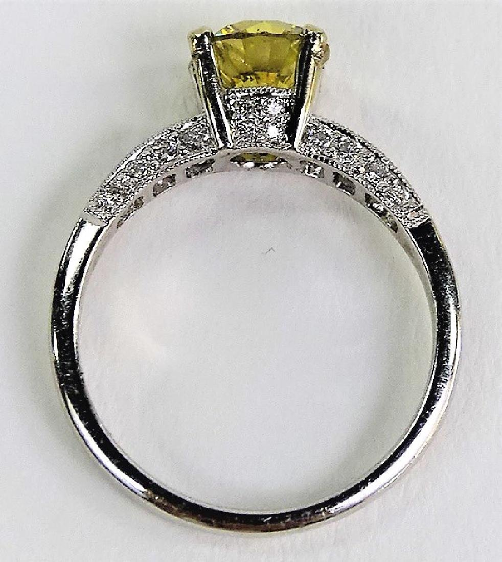 18KT W GOLD & 1 CT YELLOW DIAMOND ENGAGEMENT RING - 5