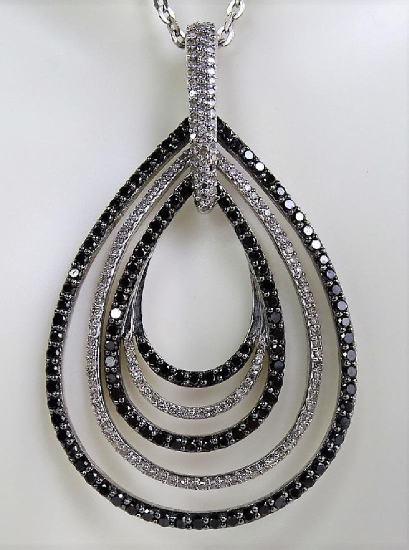 18 KT W. GOLD BLACK AND WHITE 1CT DIAMOND NECKLACE - 2