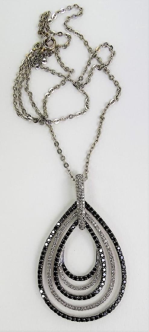 18 KT W. GOLD BLACK AND WHITE 1CT DIAMOND NECKLACE - 6