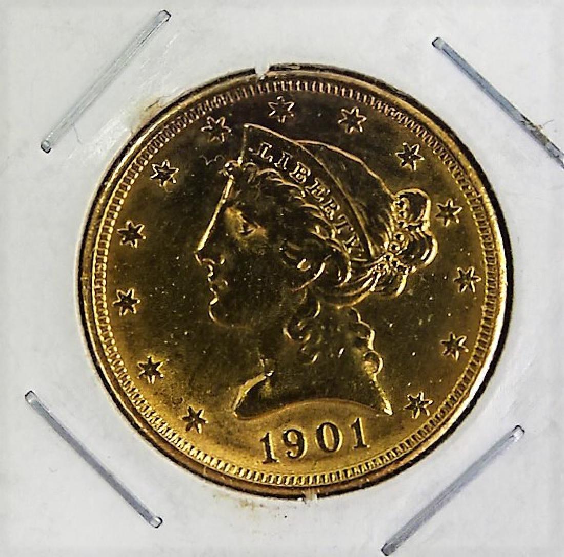 1901 S $U.S. $5 GOLD PIECE AU