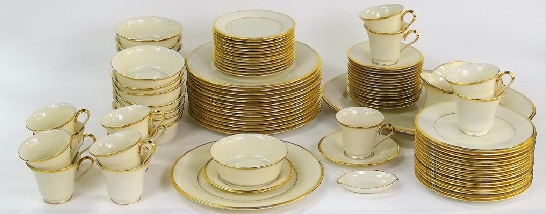 "93PC LENOX ""ETERNAL"" PORCELAIN DINNERWARE SET"
