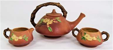 3PC ROSEVILLE POTTERY APPLE BLOSSOM TEA SET
