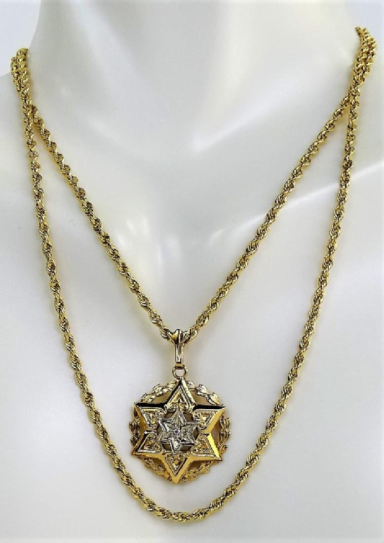 14KT Y GOLD STAR OF DAVID WITH DIAMOND NECKLACE