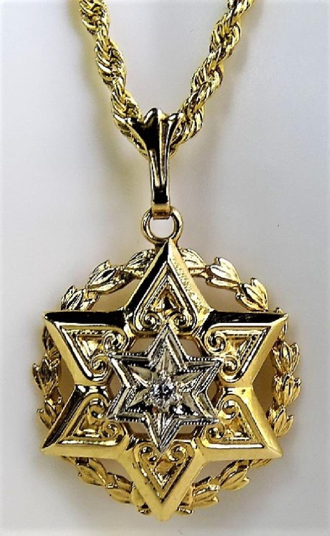 14KT Y GOLD STAR OF DAVID WITH DIAMOND NECKLACE - 4