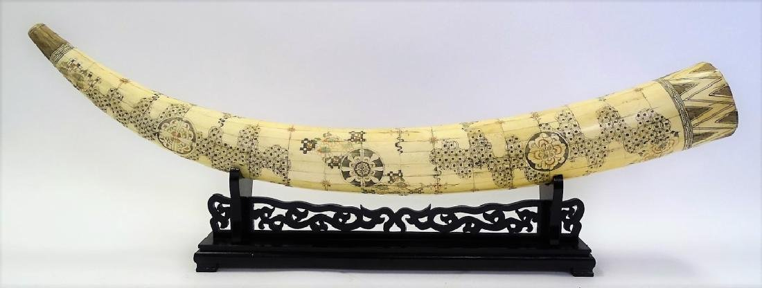 ANTIQUE CHINESE HAND CARVED BONE TUSK - 3