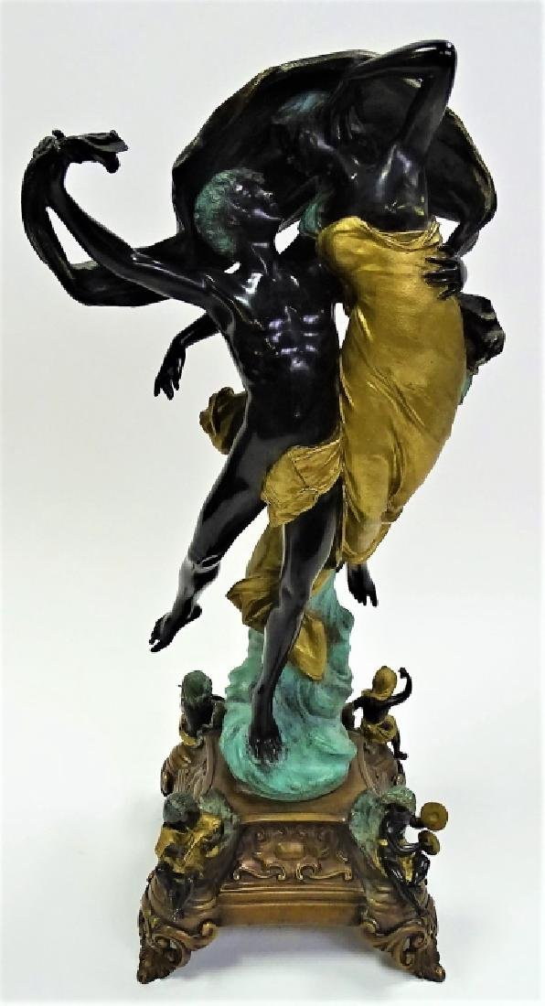 A. DELUCA LARGE POLYCHROME BRONZE OF LOVERS