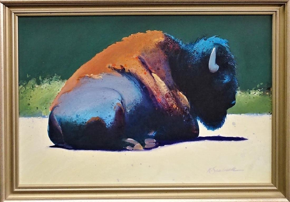 ROBERT SEABECK OIL ON CANVAS PAINTING OF BUFFALO