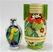 2PCS BELGIAN  ENGLISH ART POTTERY VASES