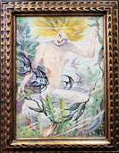 GEORGE BERGER OIL ON CANVAS PAINTING OF MERMAID