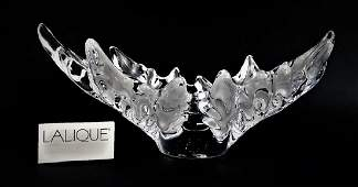 """LALIQUE FRENCH CRYSTAL """"CHAMPS- ELYSEES"""" LEAF BOWL"""