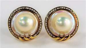 PR LADIES 14KT RG MABE PEARL  DIAMOND EARRINGS