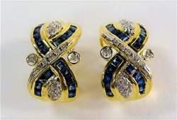 PR 14KT YG SAPPHIRE & DIAMOND HUGGIE EARRINGS