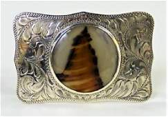 NAVAJO STERLING BELT BUCKLE SIGNED HE SOLD BOYDS