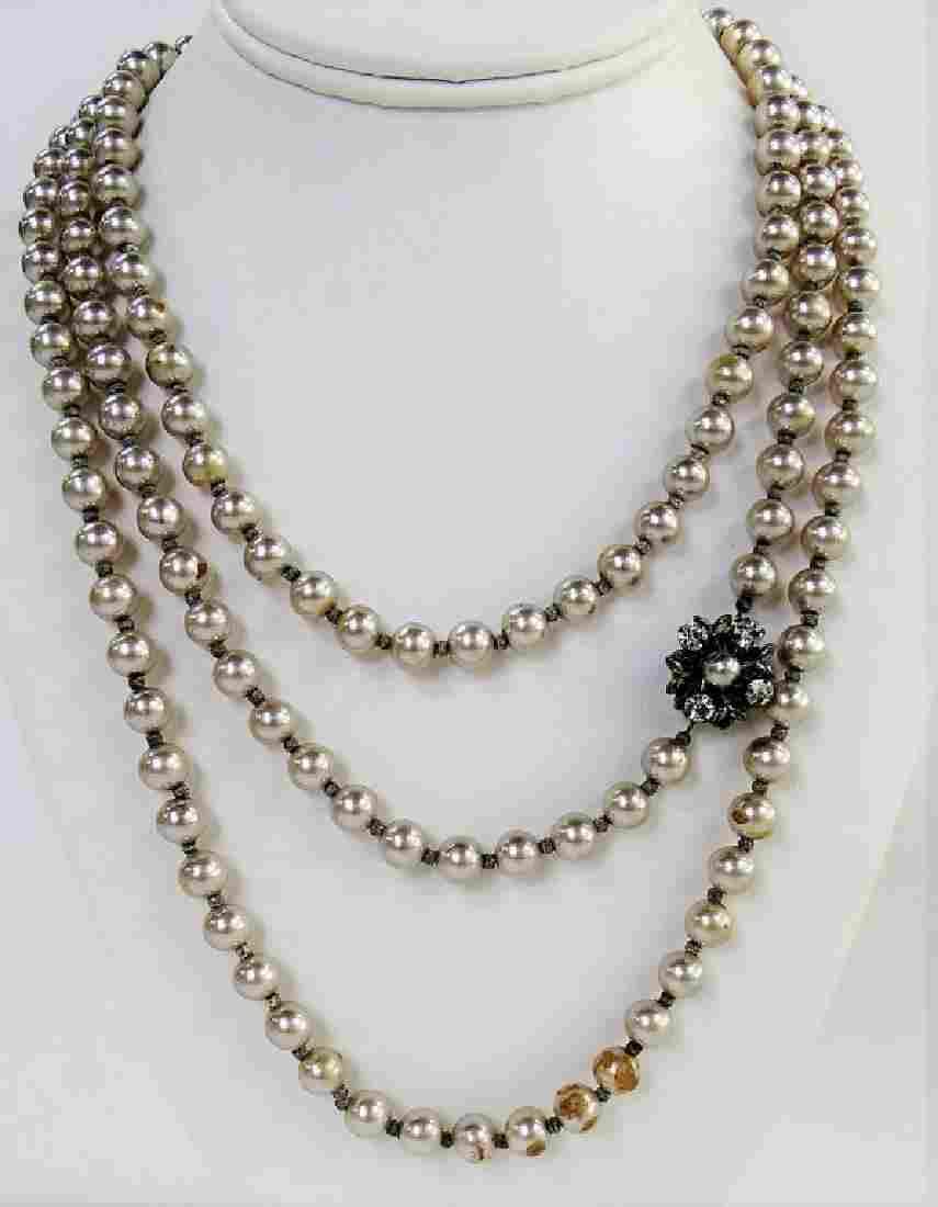 VINTAGE MIRIAM HASKELL FAUX PEARL OPERA NECKLACE