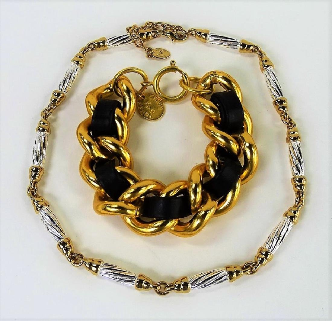 SIGNED ERWIN PEARL NECKLACE AND BRACELET