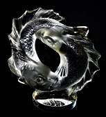 LALIQUE 'DEUX POISSONS' CRYSTAL KOI FISH SCULPTURE