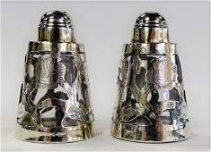 PR MEXICAN STERLING OVERLAY SALT  PEPPER SHAKERS