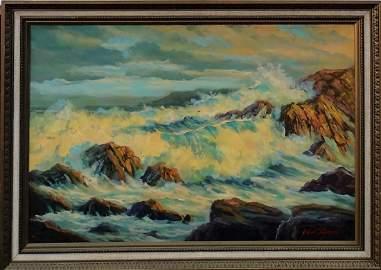 RARE JOHN T. VIGNARI 'BIG SUR' OIL PTG ON CANVAS