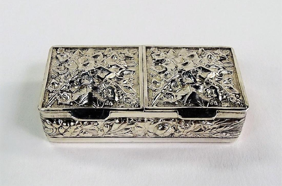 ANTIQUE STERLING SILVER REPOUSSE STAMP BOX