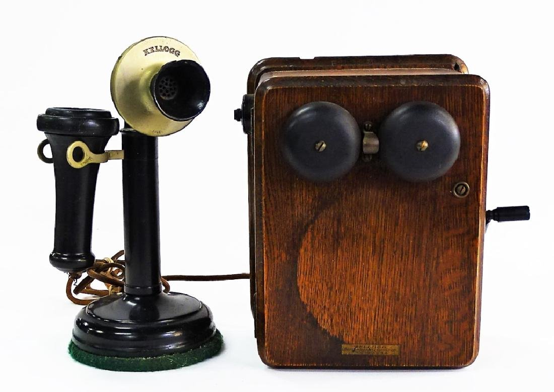 ANTIQUE KELLOGG SWITCHBOARD TELEPHONE BOX SET