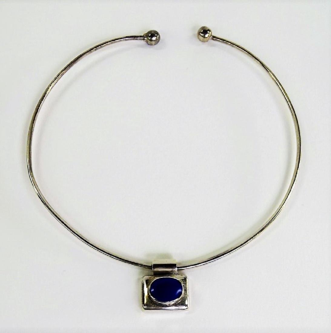 TAXCO MEXICO STERLING & LAPIS CHOKER NECKLACE