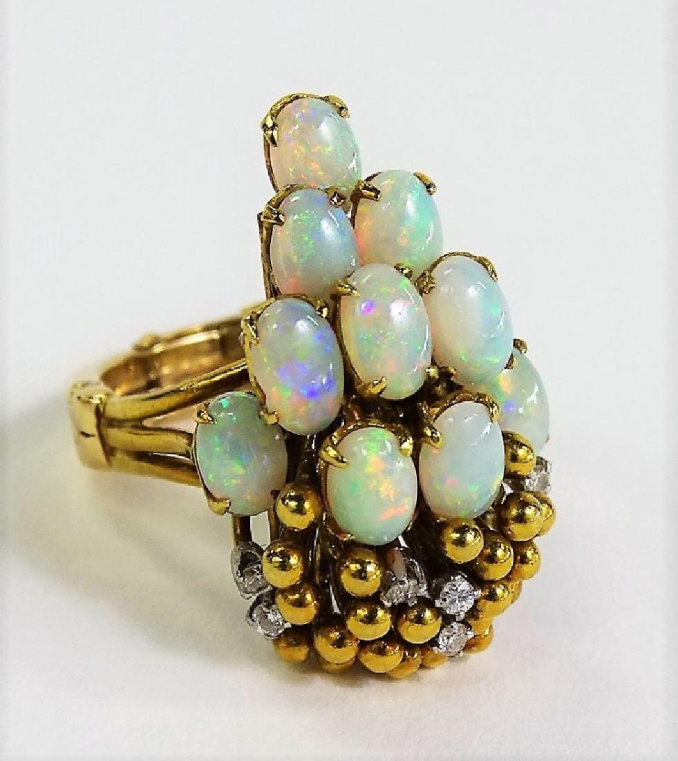 ESTATE 14KT GOLD OPAL DIAMOND LADIES COCKTAIL RING