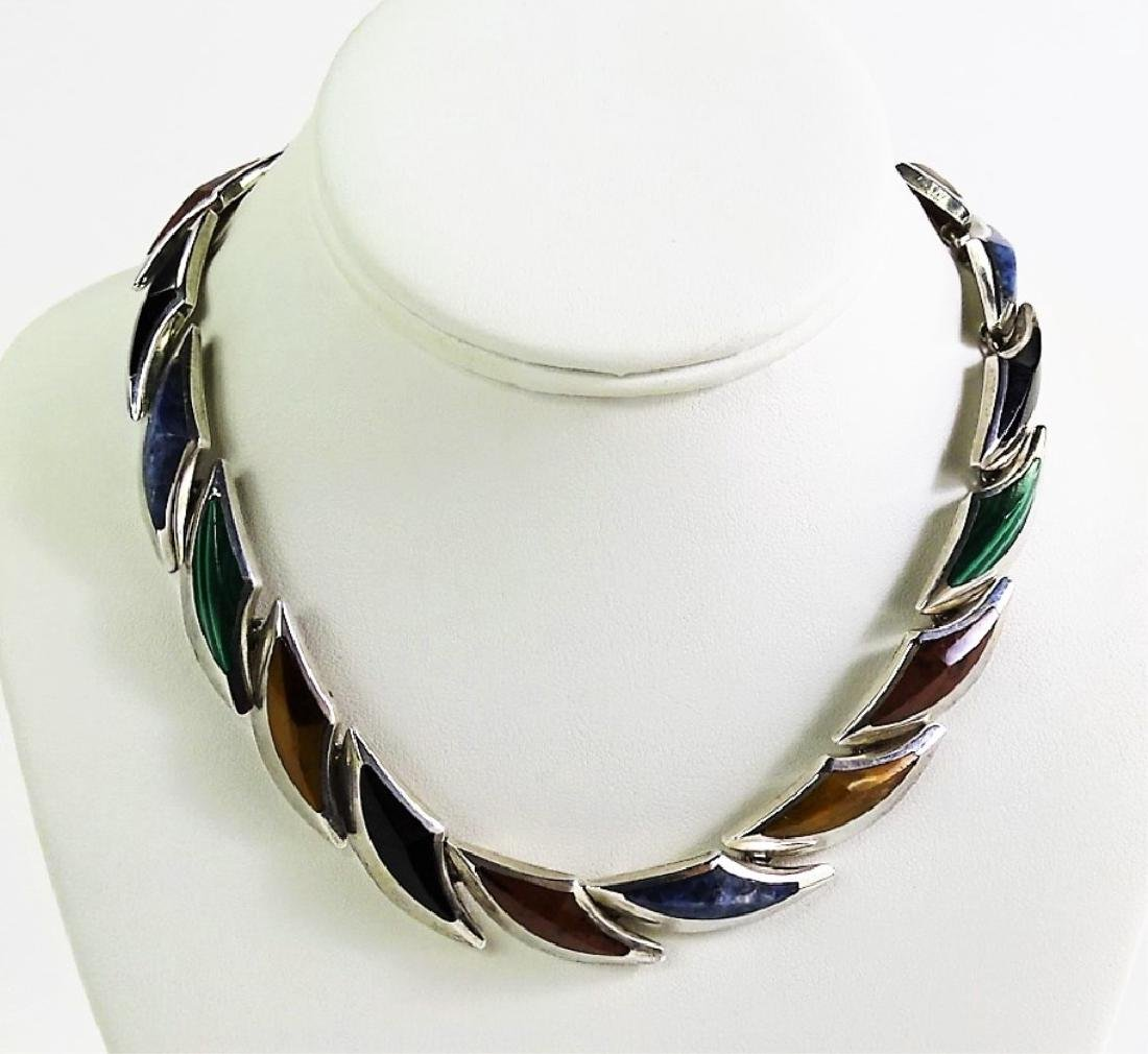 FABULOUS HEAVY STERLING PRECIOUS STONE NECKLACE